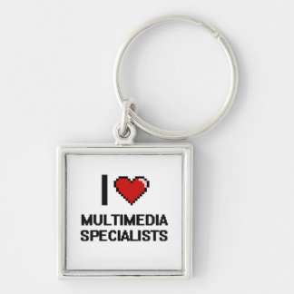 I love Multimedia Specialists Silver-Colored Square Key Ring