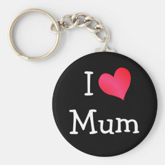 I Love Mum Basic Round Button Key Ring