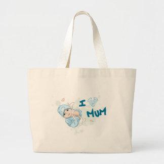 I Love Mum - Boy Tote Bags
