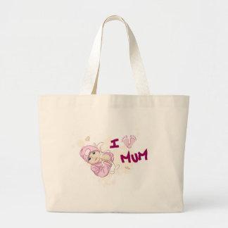 I Love Mum - Girl Canvas Bags