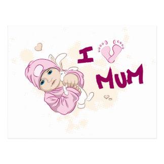 I Love Mum - Girl Postcard