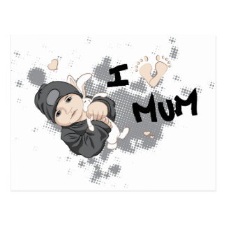 I Love Mum - Grey Postcard