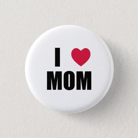 I Love Mum - Red Heart - Black Text 3 Cm Round Badge