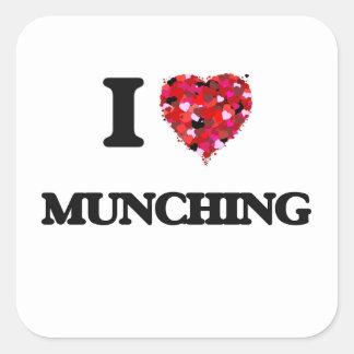 I Love Munching Square Sticker