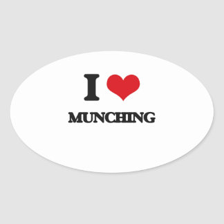 I Love Munching Oval Stickers