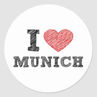 I Love Munich Classic Round Sticker