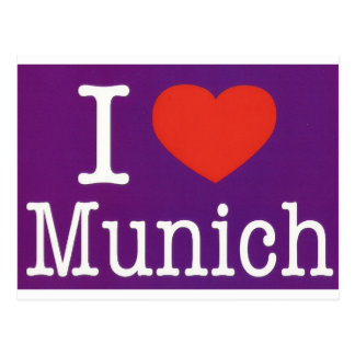 I Love Munich Purple Postcard