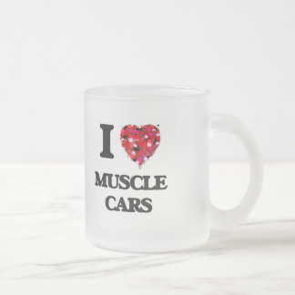 I love Muscle Cars Frosted Glass Mug