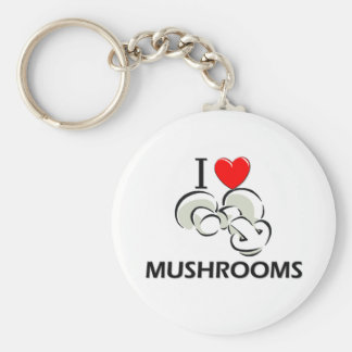 I Love Mushrooms Key Ring