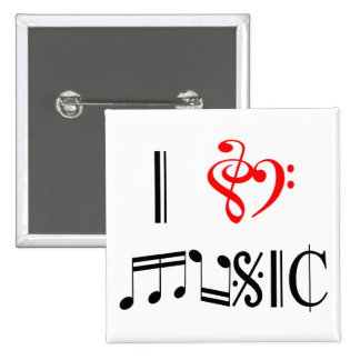 I Love Music 15 Cm Square Badge