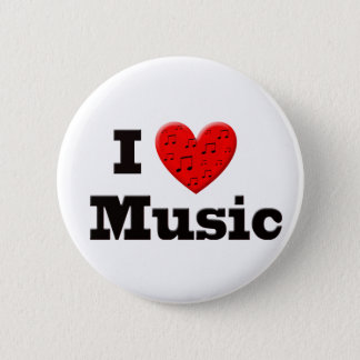 I Love Music and Heart 6 Cm Round Badge