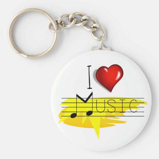 I Love music Basic Round Button Key Ring