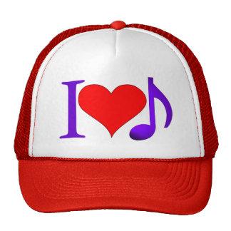 I Love Music Big Red Heart Purple Eighth Note Cap