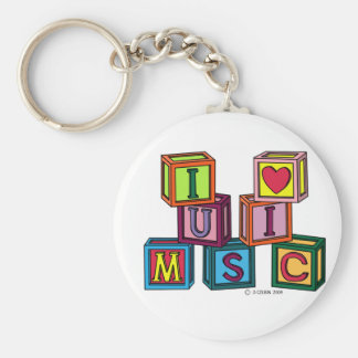 I Love Music Blocks Keychains