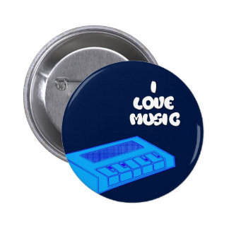 I Love Music Blue Keyboard Digital Art Design 6 Cm Round Badge