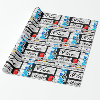 I Love Music Blue Red  Musical Notes Gift Wrap