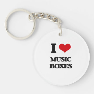 I Love Music Boxes Single-Sided Round Acrylic Key Ring