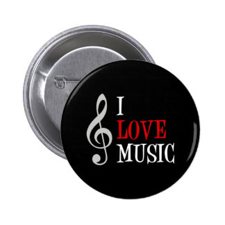 I Love Music Button Pin