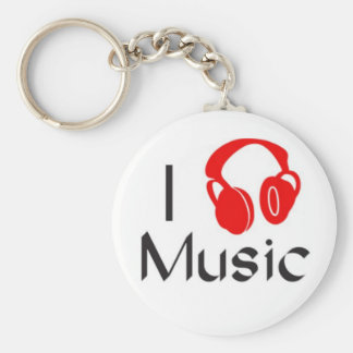 I Love Music Classic Button Keychain