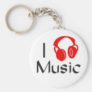 I Love Music Classic Button Keychain