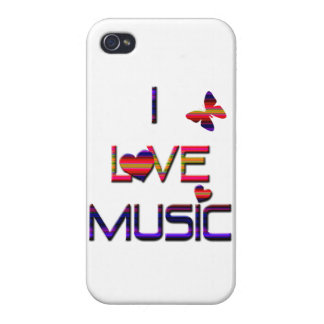 I Love Music/Colorful-with butterfly iPhone 4/4S Cover