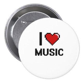 I Love Music Digital Retro Design 7.5 Cm Round Badge