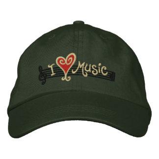 I Love Music Embroidered Baseball Caps