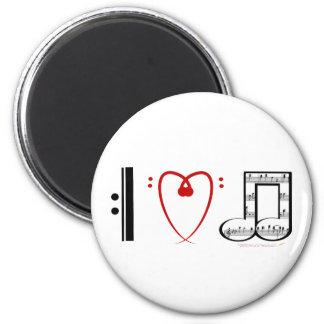 I Love Music (I heart notes) 6 Cm Round Magnet