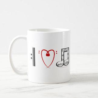 I Love Music (I heart notes) Basic White Mug