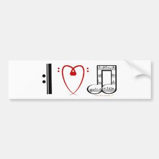 I Love Music (I Heart Notes) Bumper Sticker