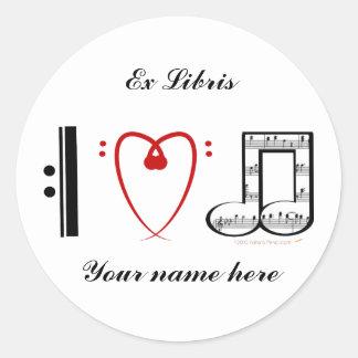 I Love Music (I heart notes) Ex Libris Bookplate Round Sticker