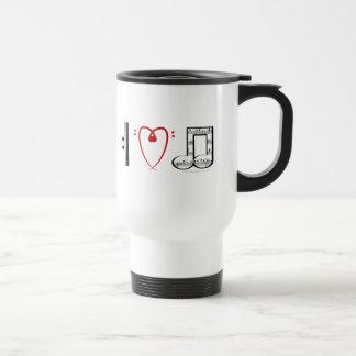 I Love Music (I heart notes) Stainless Steel Travel Mug