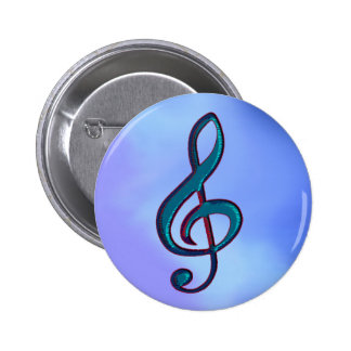 I love music / musical note 6 cm round badge