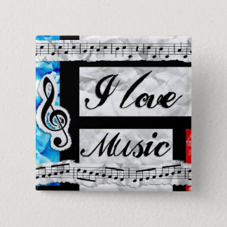 """I Love Music"" Musical Notes Button"