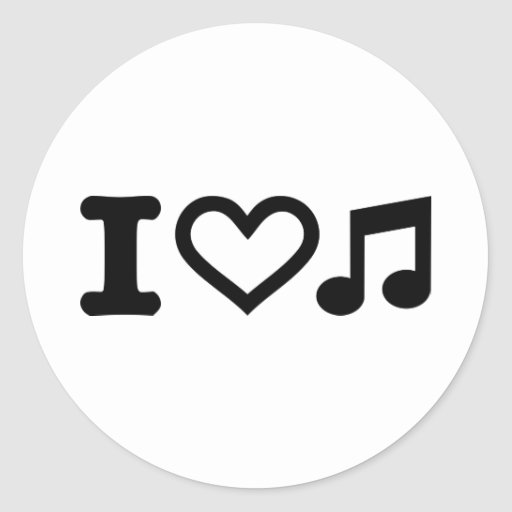 I love music note round stickers