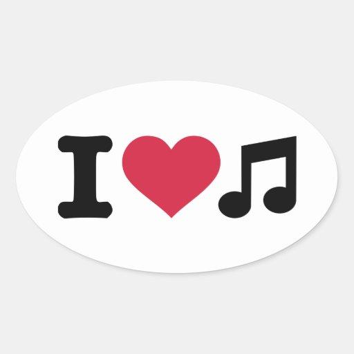 I love music note oval sticker