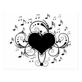 I love music notes heart black and white postcard