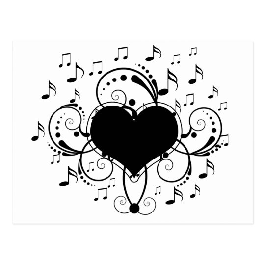 I love music notes heart black and white