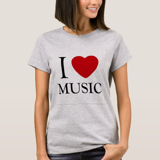 i love music red heart music lovers t-shirt