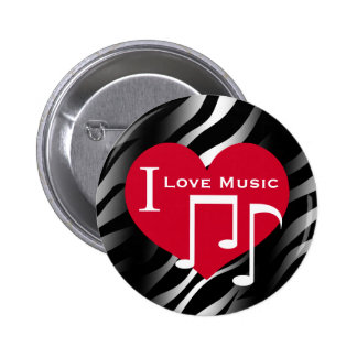 I love music red heart on black and white zebra button