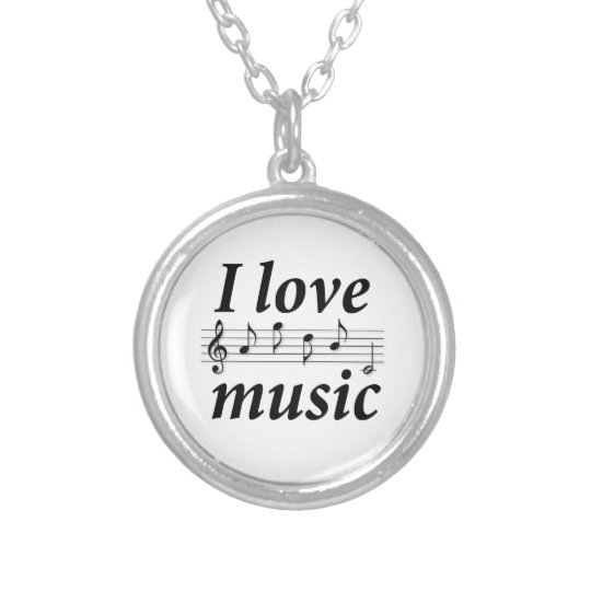 I love music silver plated necklace