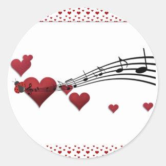 I Love music Round Stickers