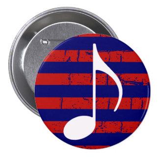 I love music striped 7.5 cm round badge