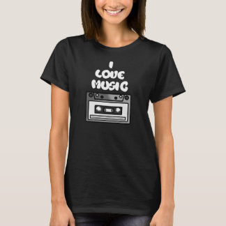 I Love Music Tape Cassette Digital Art Graphics T-Shirt