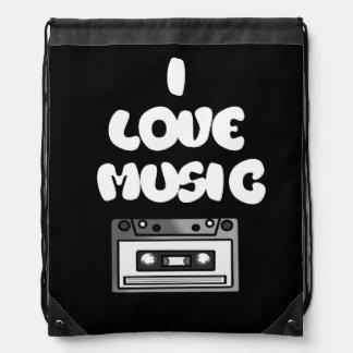 I Love Music Tape Cassette Retro Digital Art Drawstring Bag