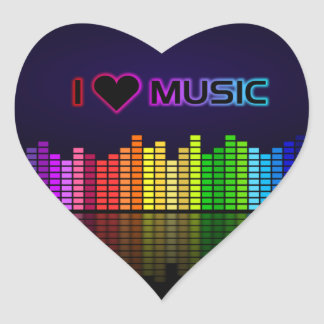 I Love Music with Equilizer (Heart) Heart Sticker