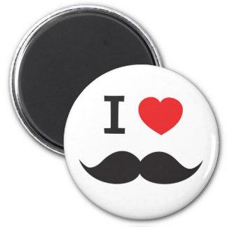 I Love Mustache 6 Cm Round Magnet