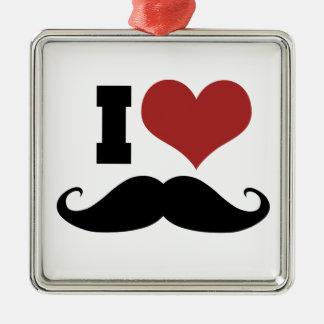 I Love Mustache Christmas Ornament