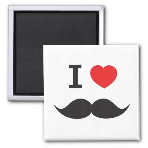 I Love Mustache Magnets