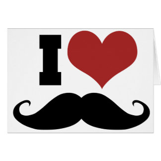 I Love Mustache Note Card